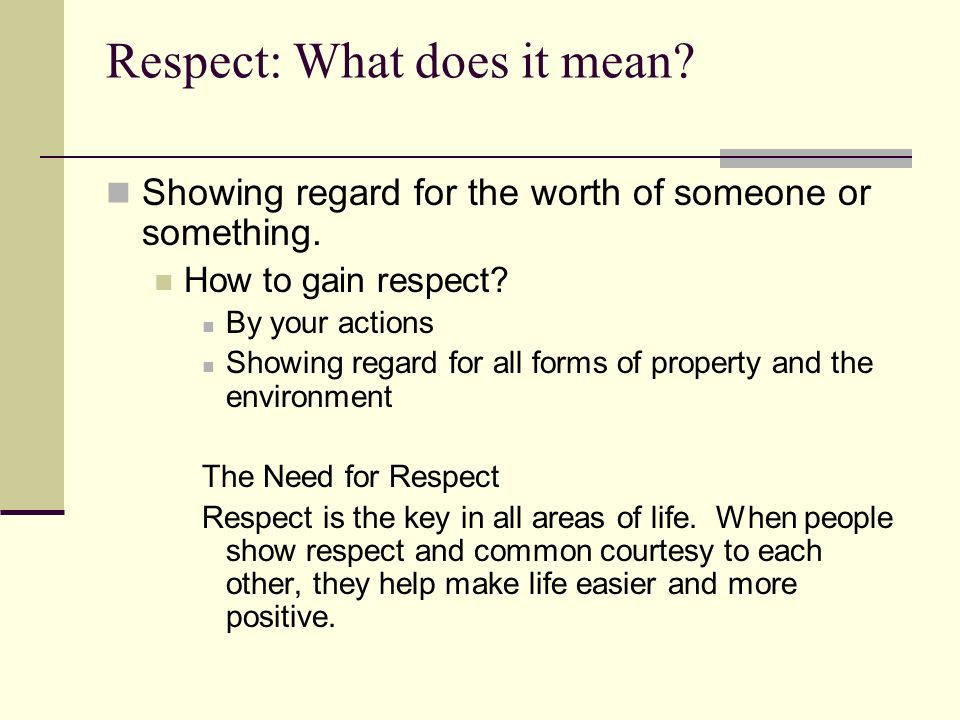 what is respect for others