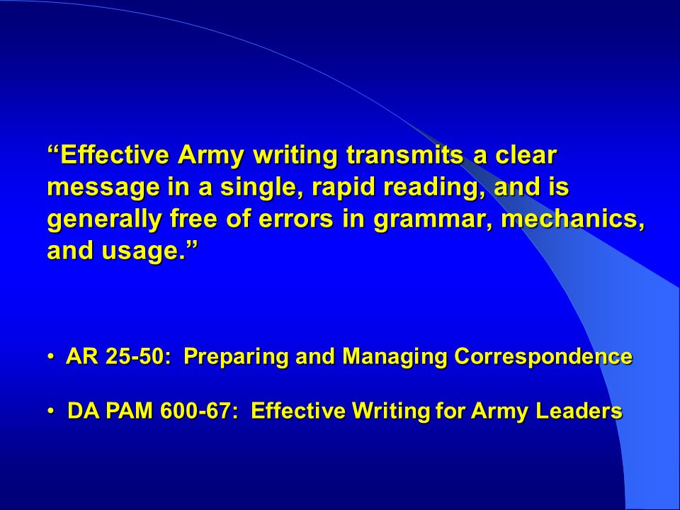 effective army writing