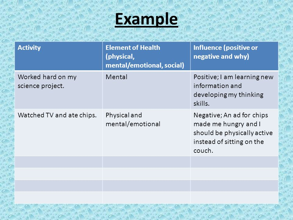 11 Example Activity Element Of Health Physical