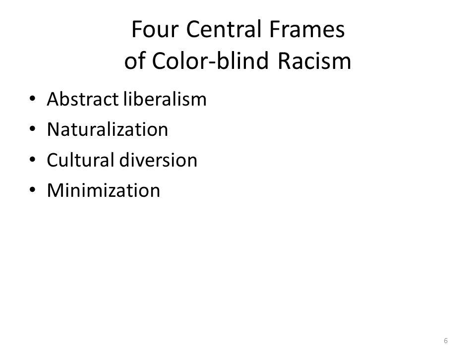 Four Central Frames Of Color Blind Racism