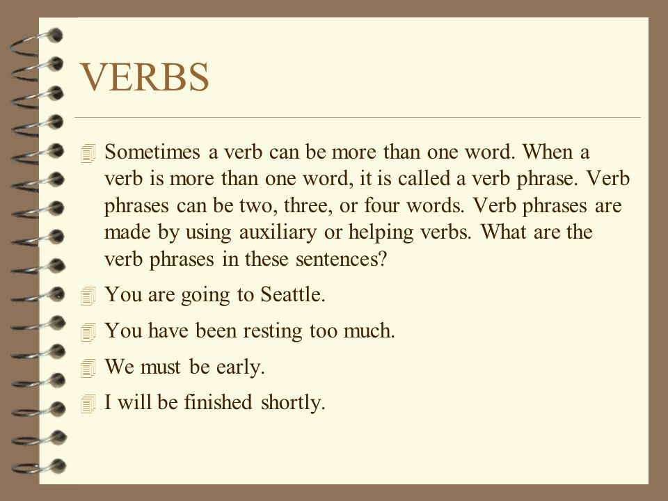 what words can be made with these letters the 8 parts of speech verbs ppt 25604 | VERBS