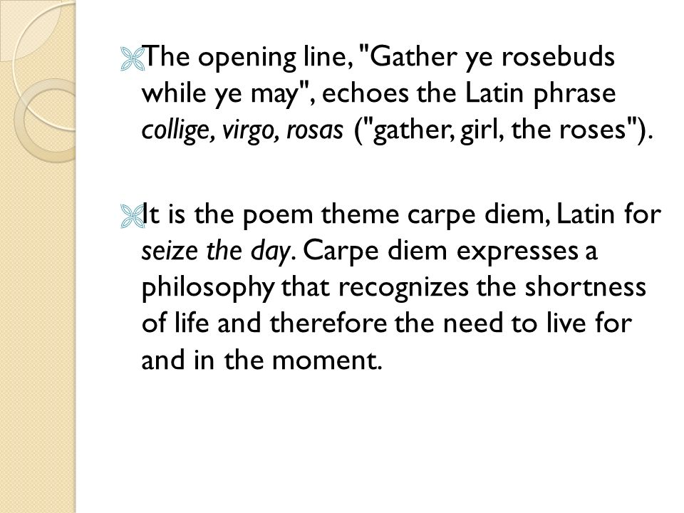 seize the day poem carpe diem