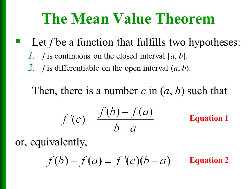 Applications Of Differentiation Section 42 The Mean Value Theorem