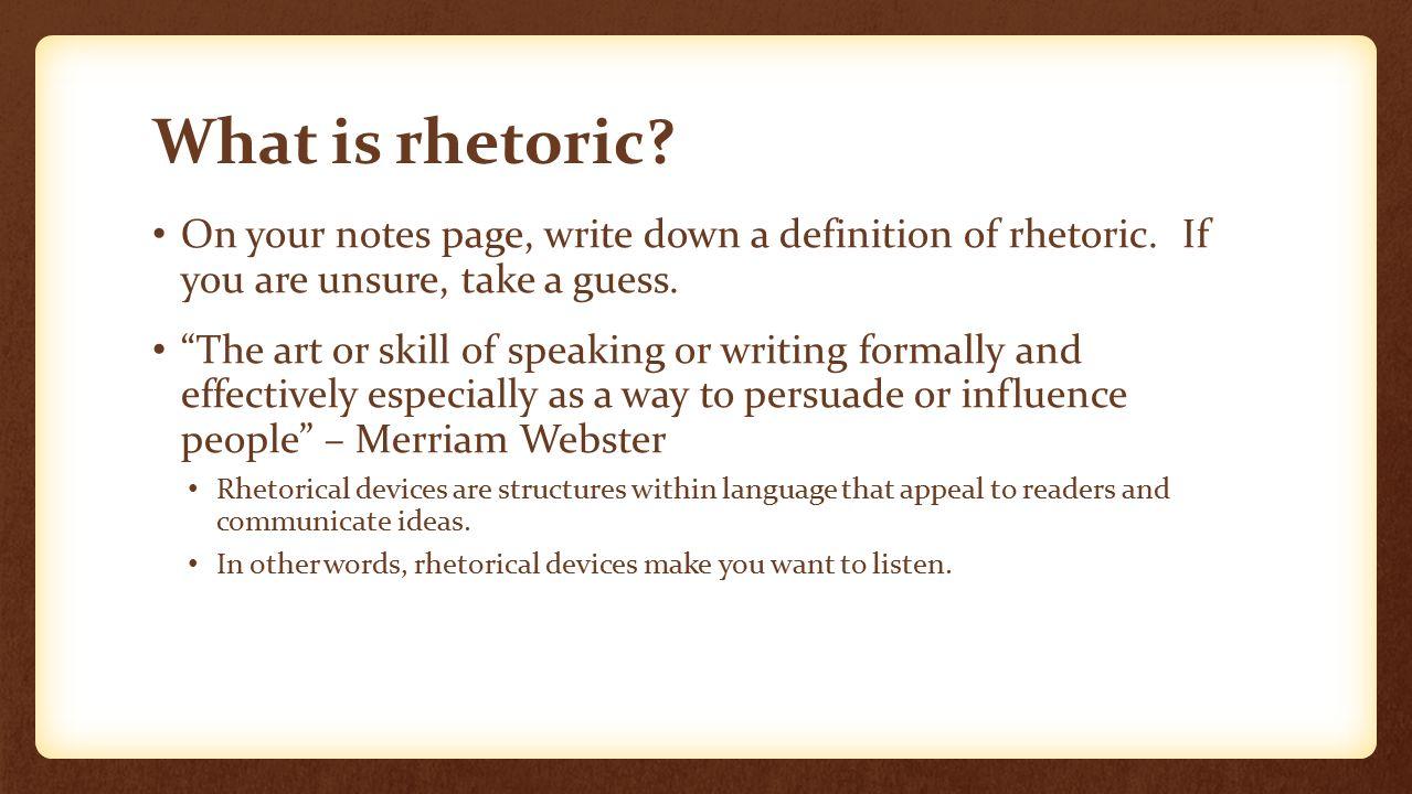what does rhetorical skills mean