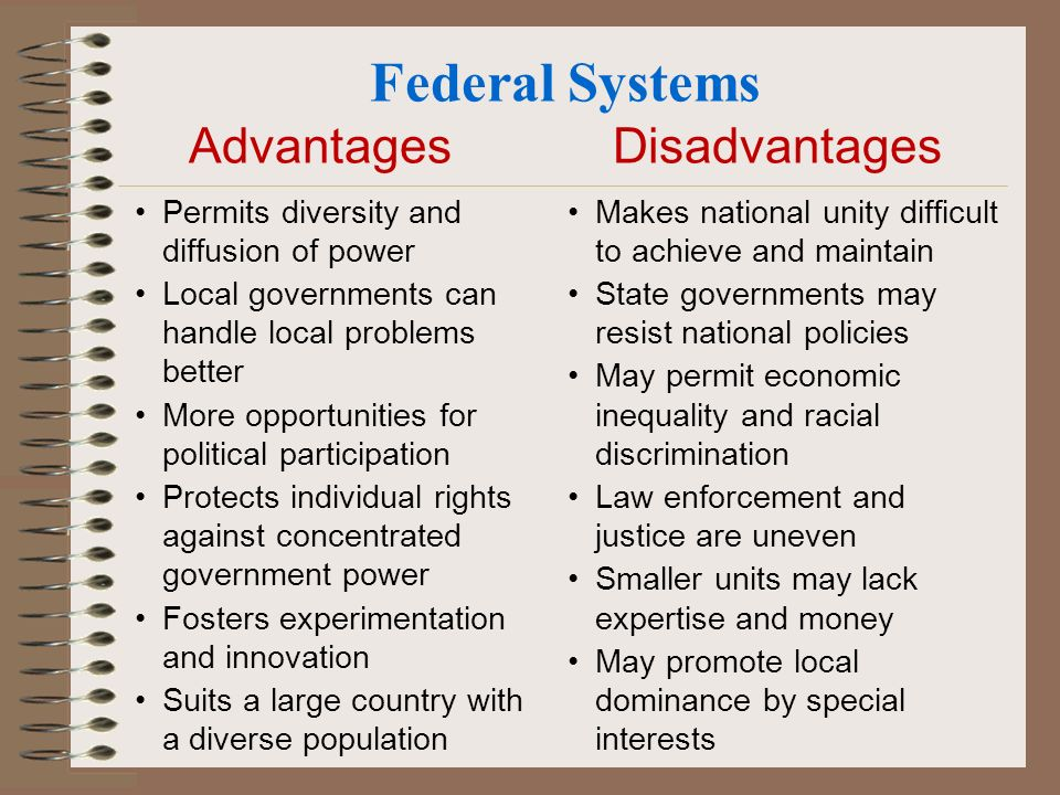 advantages and disadvantages of unitary system