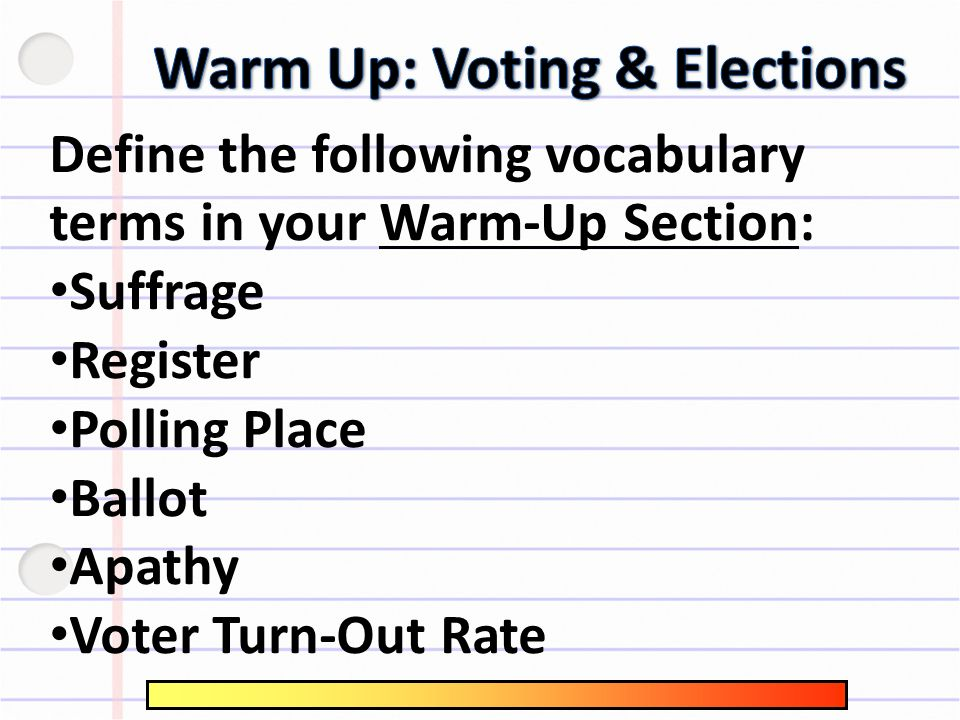 Warm Up Voting Elections Ppt Download