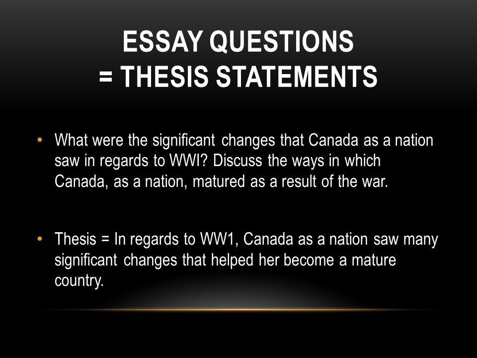 wwchapter  test  essay   ppt video online download essay questions  thesis statements