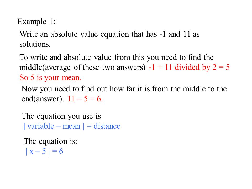 Example 1: Write an absolute value equation that has -1 and 11 as solutions.
