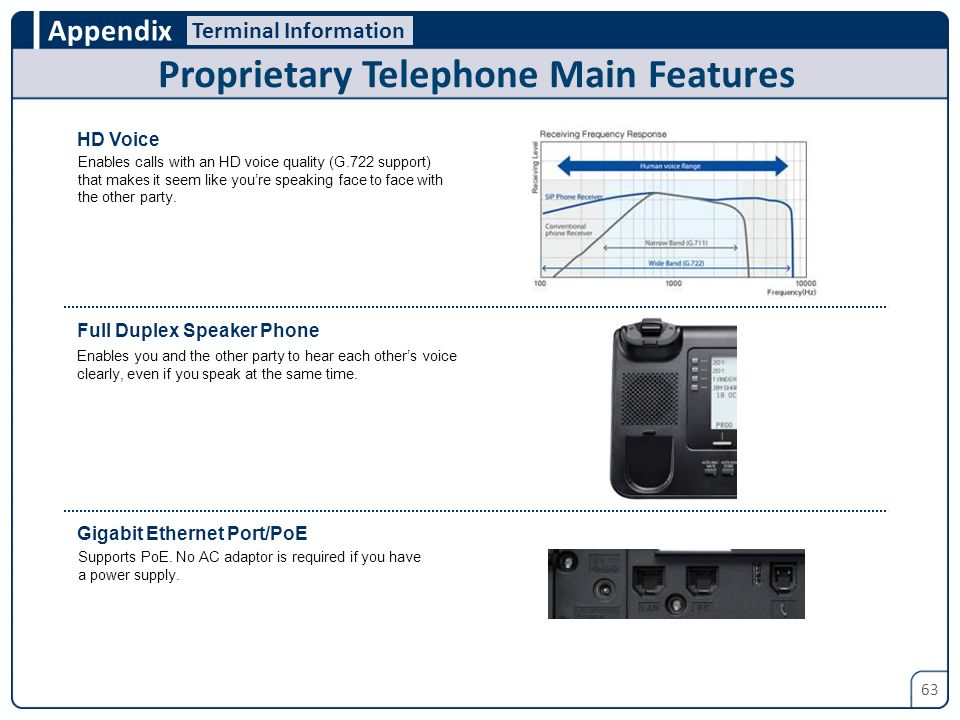 Proprietary Telephone Main Features