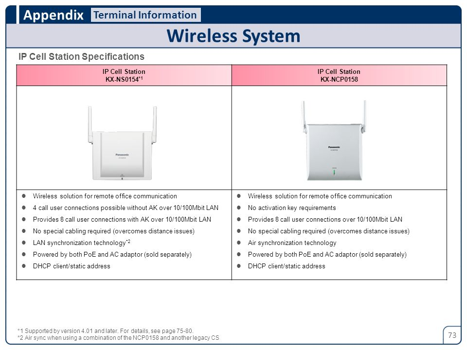 Wireless System Terminal Information IP Cell Station Specifications 73