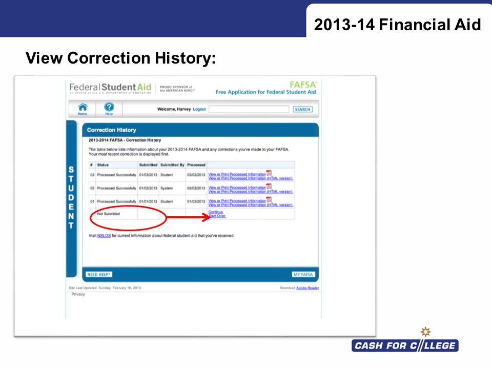 Financial Aid View Correction History: