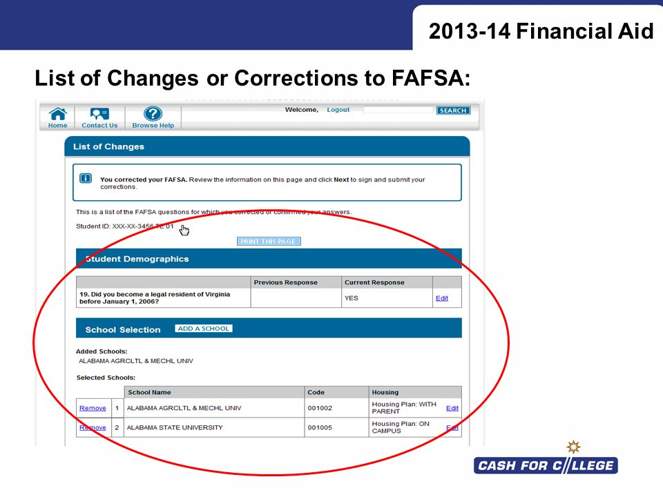 Financial Aid List of Changes or Corrections to FAFSA: