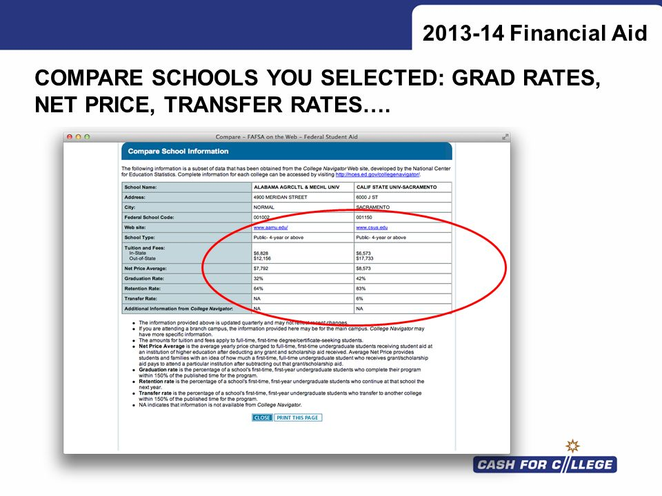 Financial Aid COMPARE SCHOOLS YOU SELECTED: GRAD RATES, NET PRICE, TRANSFER RATES….