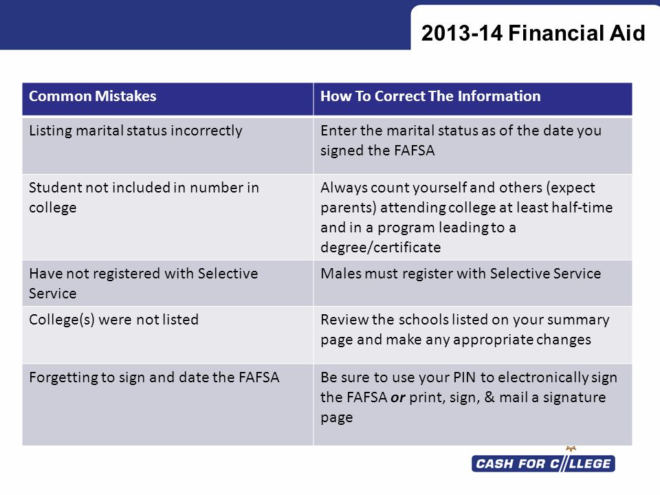 Financial Aid Common Mistakes How To Correct The Information