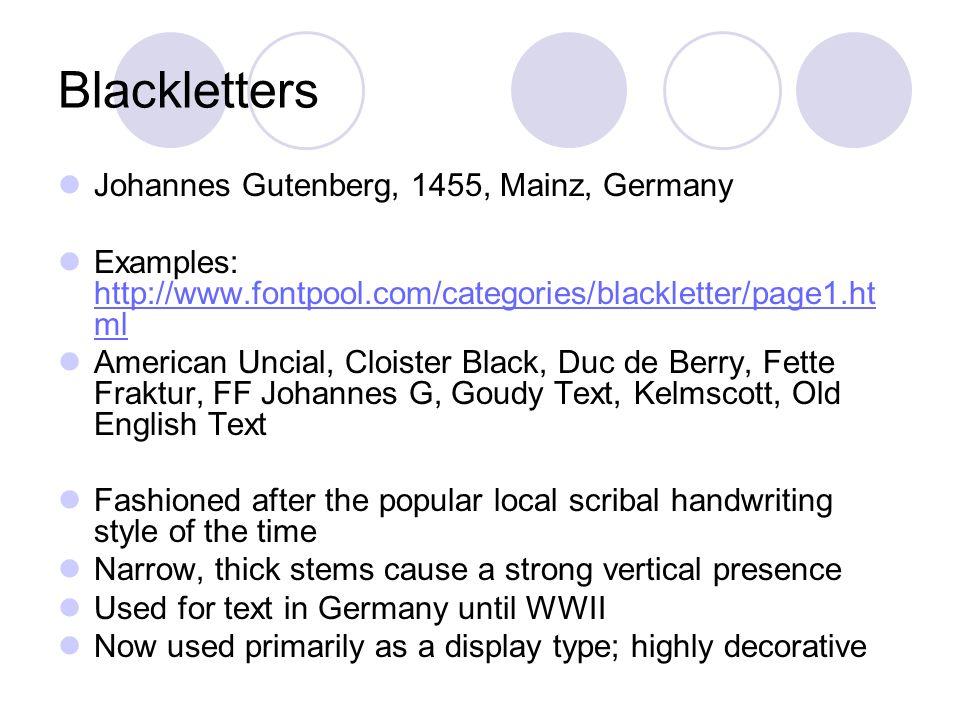3 Blackletters Johannes Gutenberg