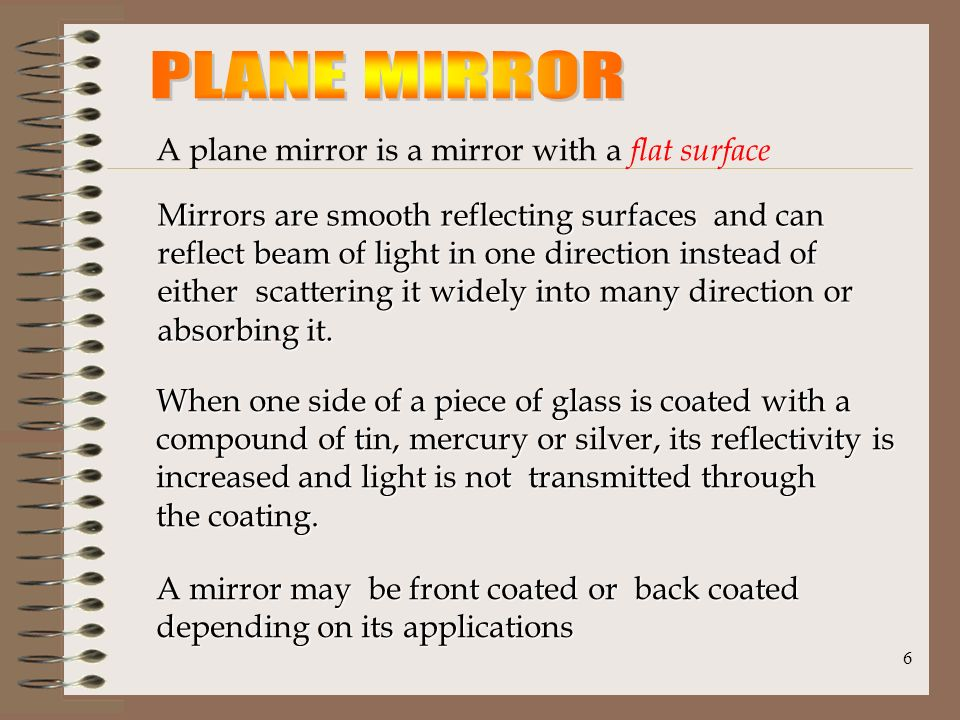 PLANE MIRROR A Plane Mirror Is With Flat Surface