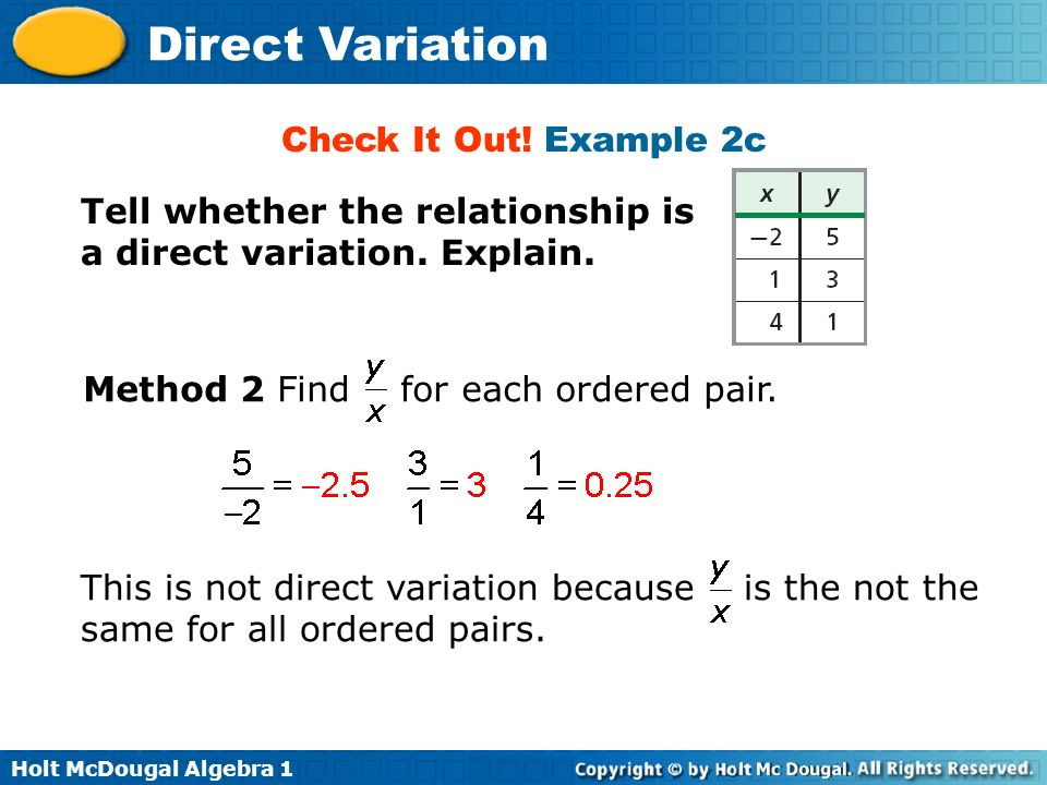 Direct Variation Warm Up Lesson Presentation Lesson Quiz Ppt Download