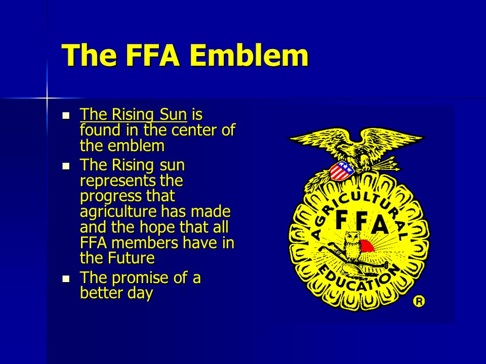 The FFA Emblem The Rising Sun is found in the center of the emblem