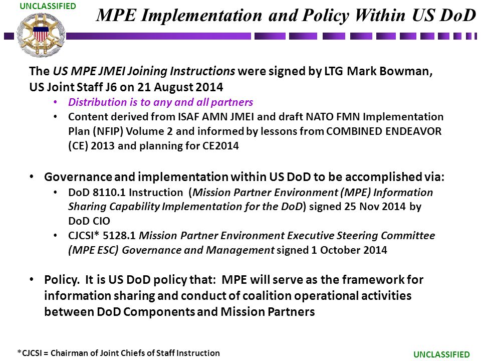 Unclassified Mission Partner Environment Mpe And Nato Federated