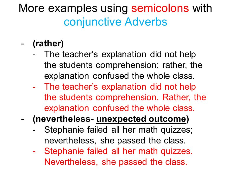Examples Of Compound Sentences With Conjunctive Adverbs Images