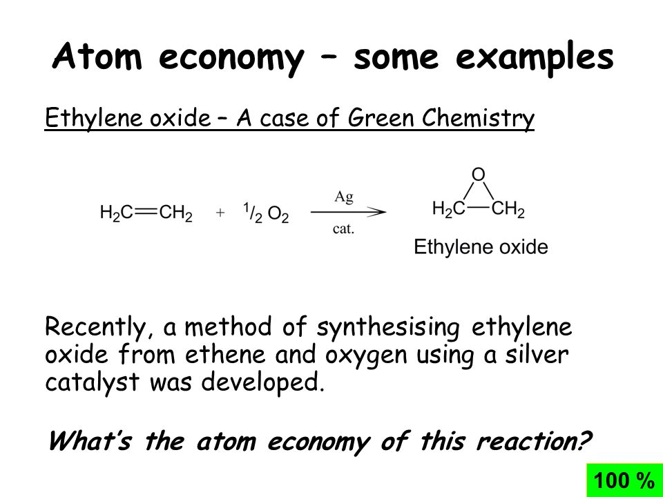 Chemistry calculations percent yield and atom economy.