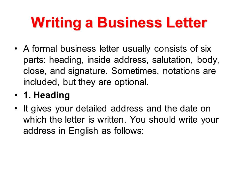Writing A Business Letter Ppt Video Online Download