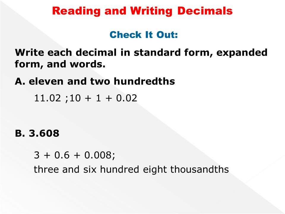 Lesson 2 Reading And Writing Decimals Ppt Video Online Download