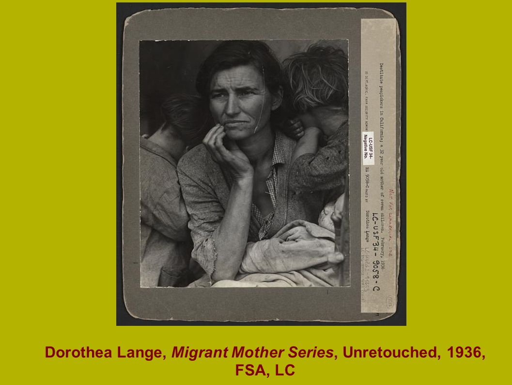 Dorothea Lange, Migrant Mother Series, Unretouched, 1936, FSA, LC