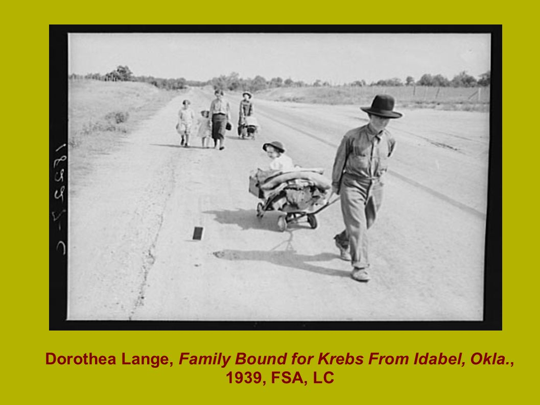 Dorothea Lange, Family Bound for Krebs From Idabel, Okla