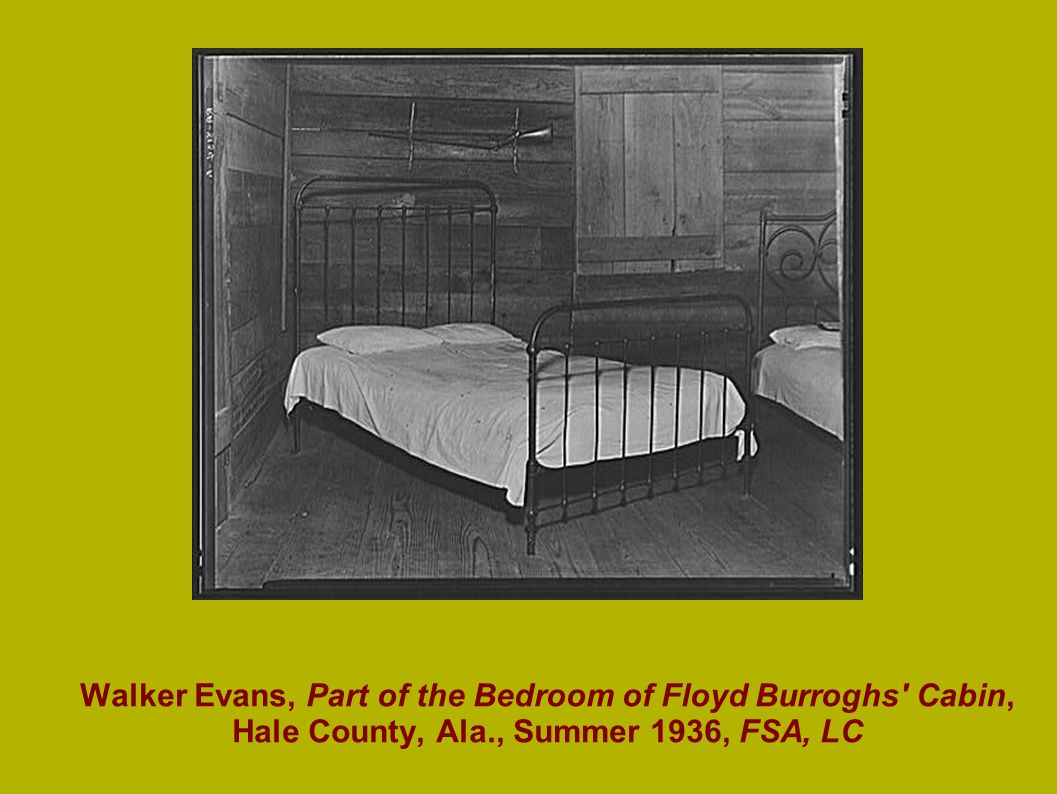 Walker Evans, Part of the Bedroom of Floyd Burroghs Cabin, Hale County, Ala., Summer 1936, FSA, LC