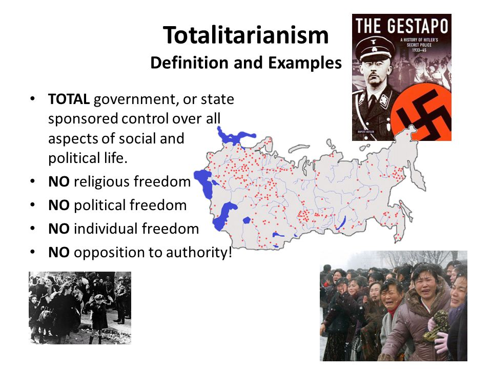 totalitarian government Totalitarianism totalitarianism is best understood as any system of political ideas that is both thoroughly dictatorial and utopian it is an ideal type of governing notion, and as such, it cannot be realised perfectly.