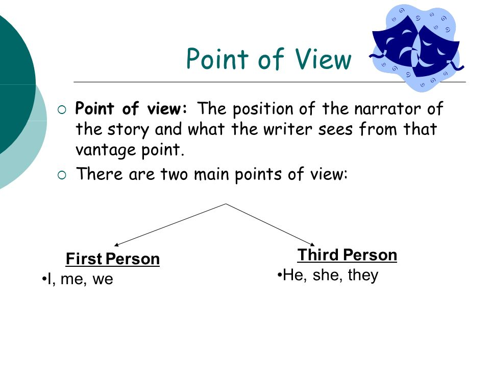Point of View Point of view: The position of the narrator of the story and what the writer sees from that vantage point.