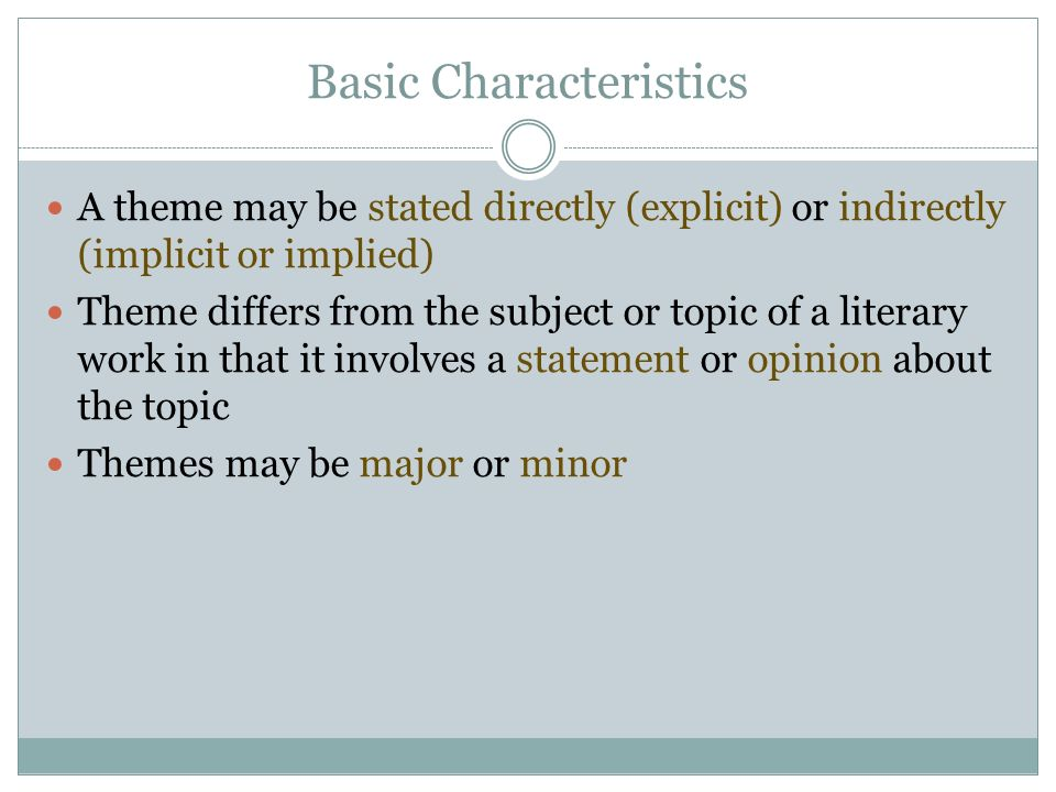 how does the theme differ from the subject