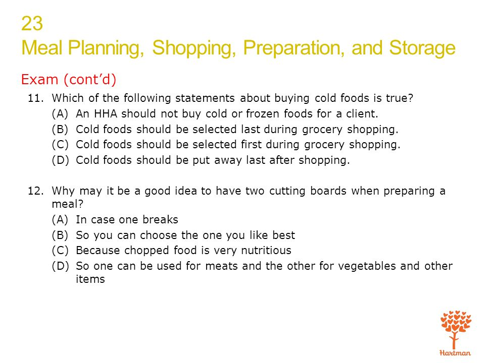 1 Explain How To Prepare A Basic Food Plan And List Food Shopping