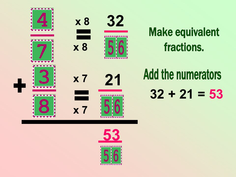 = 53 = + = x 8 x 8 x 7 x 7 Make equivalent fractions.