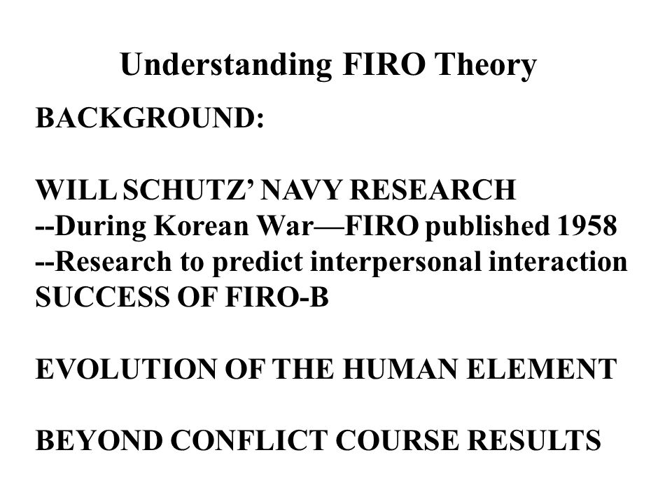 firo theory of needs william schutz