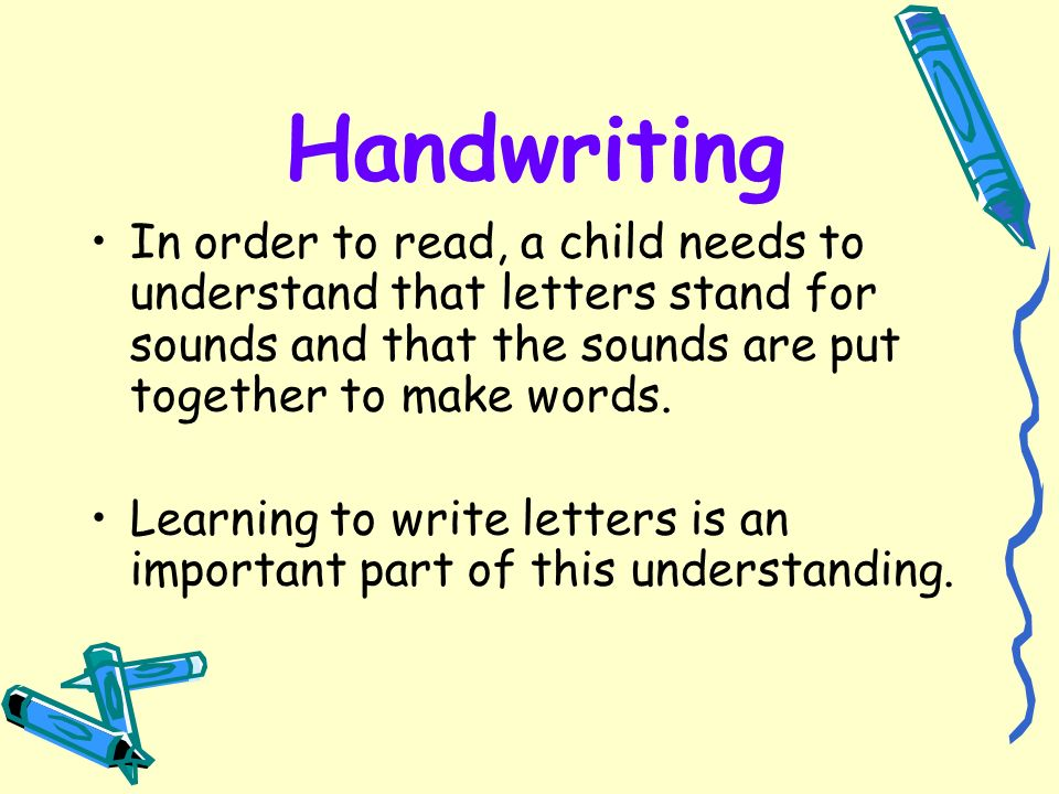 when letters stand for words how to help in early years ppt 25624 | Handwriting In order to read%2C a child needs to understand that letters stand for sounds and that the sounds are put together to make words.