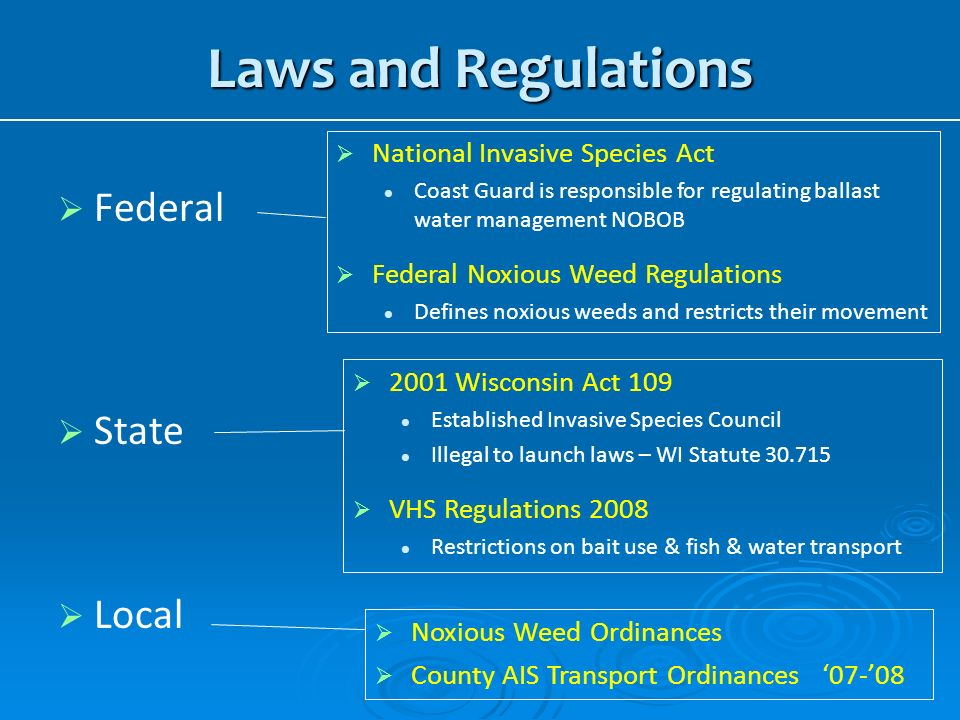 Laws and Regulations Federal State Local National Invasive Species Act
