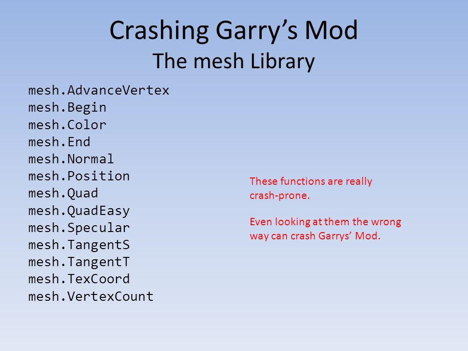 Breaking out of Garry's Mod's Lua sandbox - ppt download