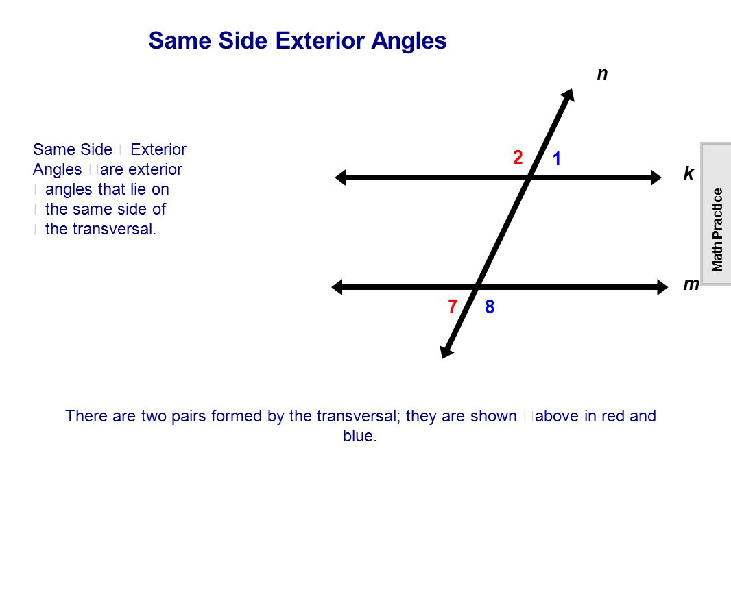 Table of contents lines intersecting parallel skew - Definition of interior and exterior angles ...
