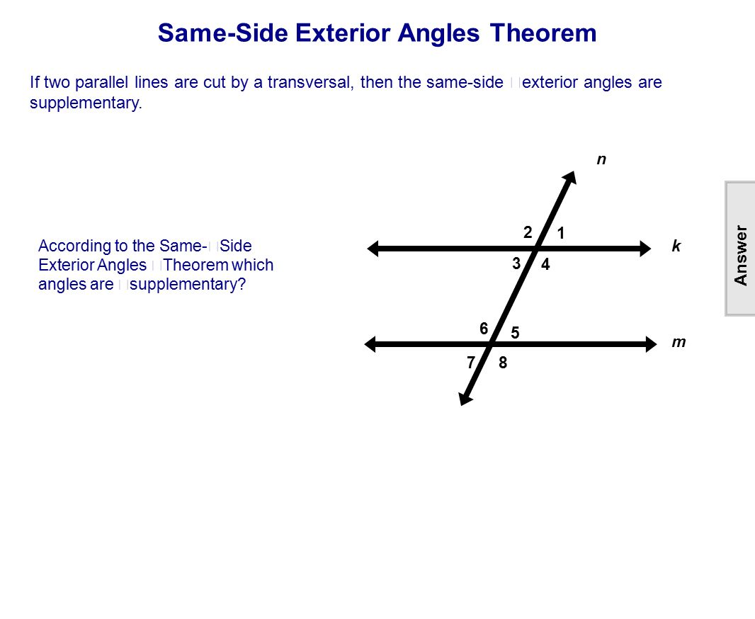 Same side interior angles theorem geometry www - Same side exterior angles are congruent ...