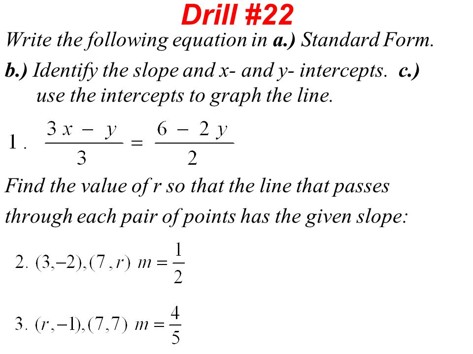 Drill 21 A Write Each Equation In Standard Form Ppt Video