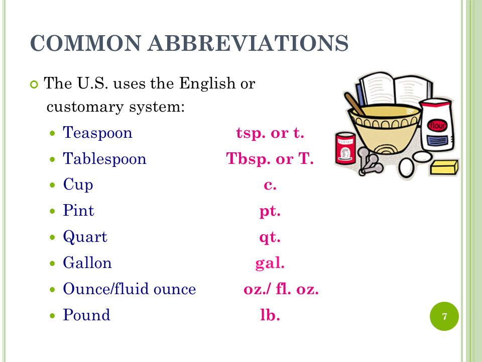 Common Abbreviations The U S Uses English Or Customary System