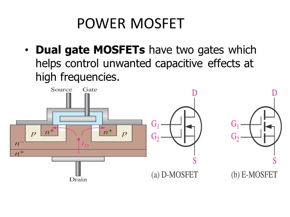 chapter 6 field effect transistors (fets) ppt video online download62 power mosfet dual gate mosfets have two gates which helps control unwanted capacitive effects at high frequencies