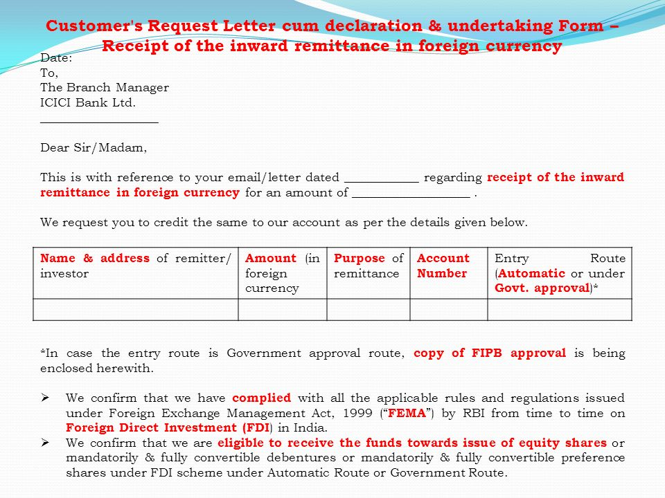 letter of request for an equity investment template procedural aspects in inbound investments ppt 19624