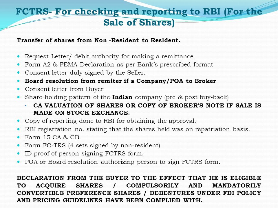 fctrs for checking and reporting to rbi for the sale of shares