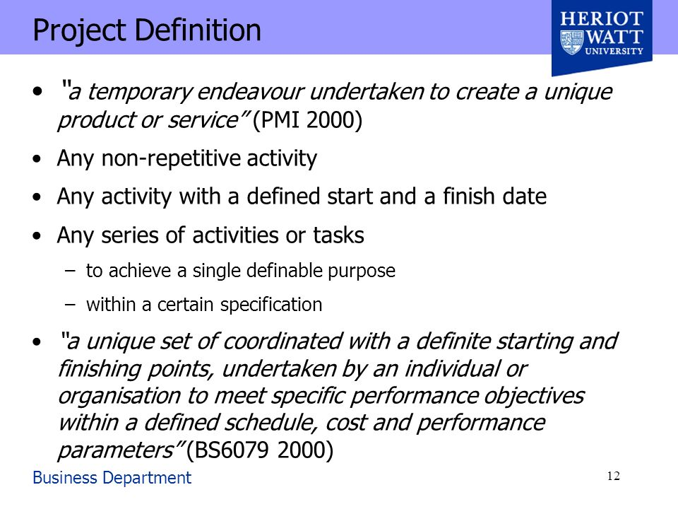 how to write a project definition