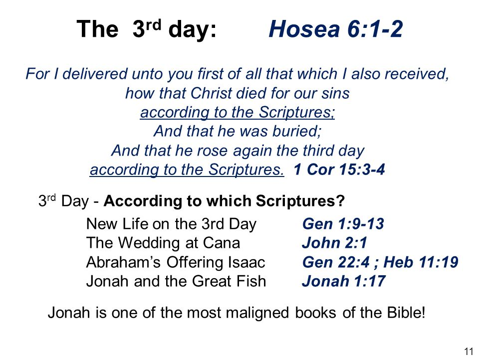 The 3rd day: Hosea 6:1-2 For I delivered unto you first of all that which I also received, how that Christ died for our sins.