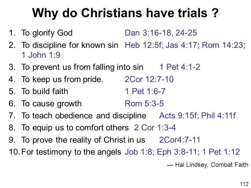 Why do Christians have trials