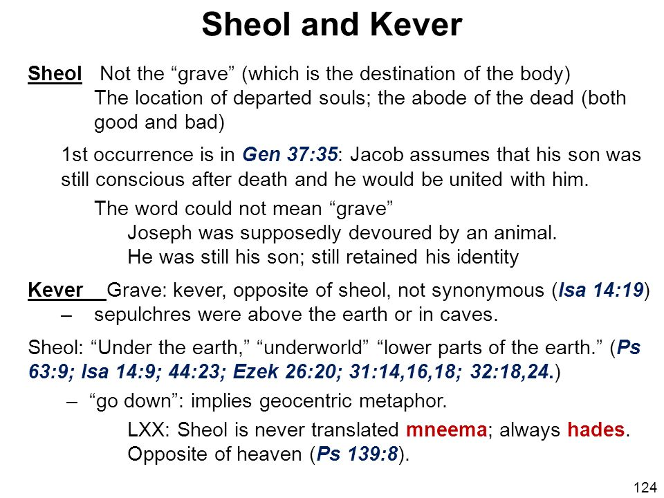 Sheol and Kever Sheol Not the grave (which is the destination of the body)